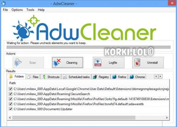 adwcleaner сканирование системы
