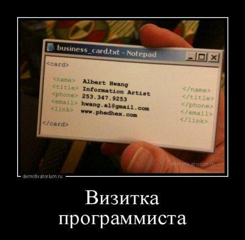 визитка программиста