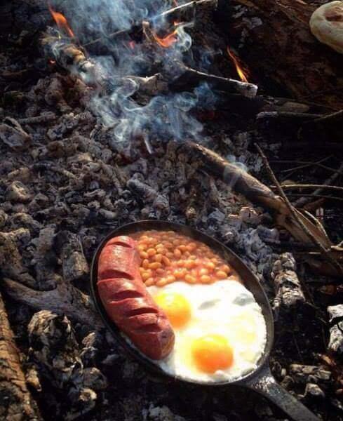 блюдо на костре и углях