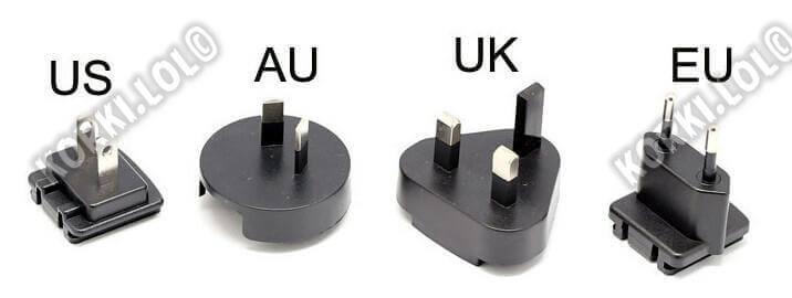 US plug UK plug EU plug разница штекера
