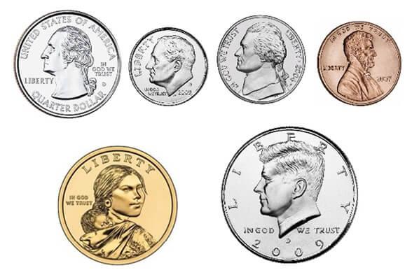 портреты президентов на монетах сша