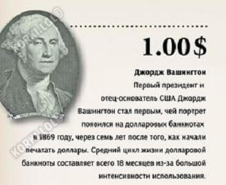 какой президент америки на 1 долларе