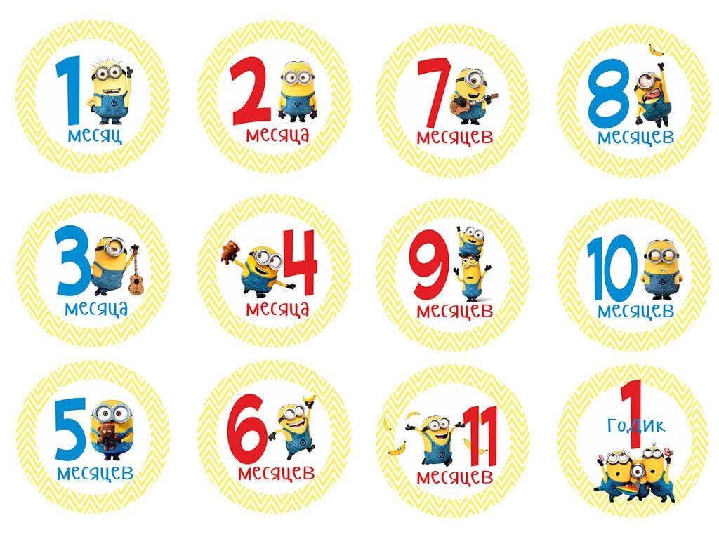 наклейки для фотосессии новорожденных по месяцам